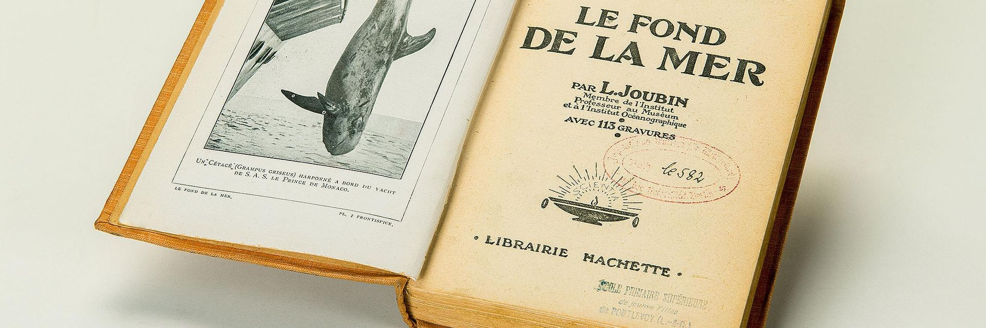 "Two library stamp imprints are seen on the title page of an open book. They are centered under the heading ""Le fond de la mer,"" which is French for ""The Seabed""."