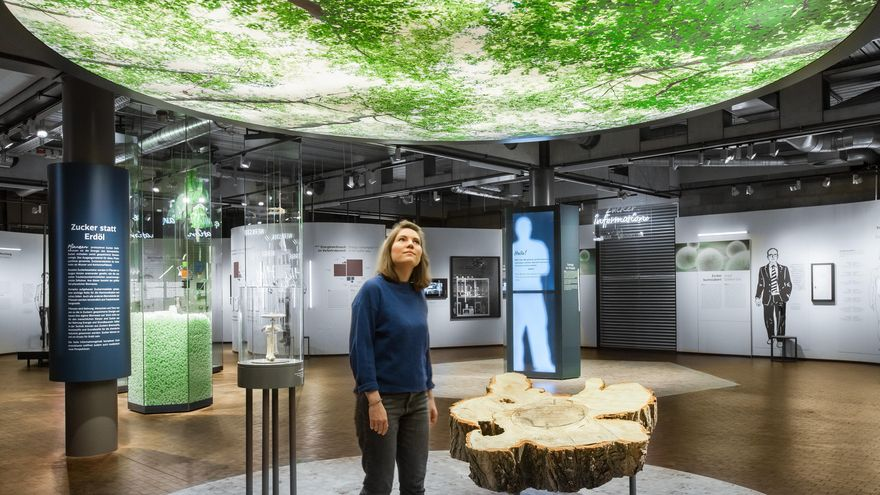 "A young woman walks through the ""Sugars and Beyond"" exhibition. On the ceiling there is a large, backlit photograph showing the green canopy of a forest. On the floor there is a section of a poplar tree trunk."
